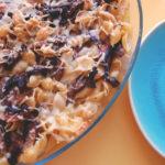 פסטה אפויה עם גבינות, פטריות ואנשובי